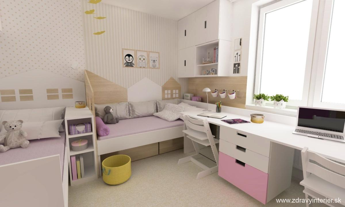 d630420dcf48c Návrh detskej izby pre dve dievčatá v klasickom panelovom byte. Želaním  zákazníčky bolo použiť v návrhu niektoré nábytkové prvky, ktoré už mali v  detskej ...